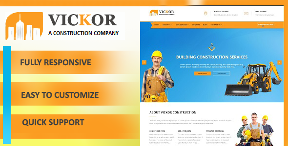 Vickor – Construction WordPress Theme